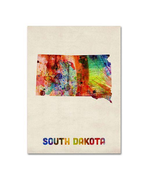 "Trademark Global Michael Tompsett 'South Dakota Map' Canvas Art - 24"" x 18"""