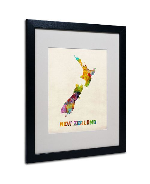 "Trademark Global Michael Tompsett 'New Zealand Map' Matted Framed Art - 20"" x 16"""