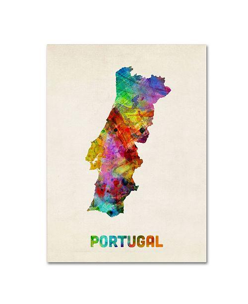 "Trademark Global Michael Tompsett 'Portugal Watercolor Map' Canvas Art - 47"" x 35"""