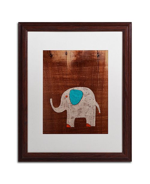 "Trademark Global Nicole Dietz 'Elephant on Wood' Matted Framed Art - 20"" x 16"""