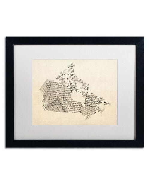 "Trademark Global Michael Tompsett 'Old Sheet Music Map of Canada' Matted Framed Art - 20"" x 16"""