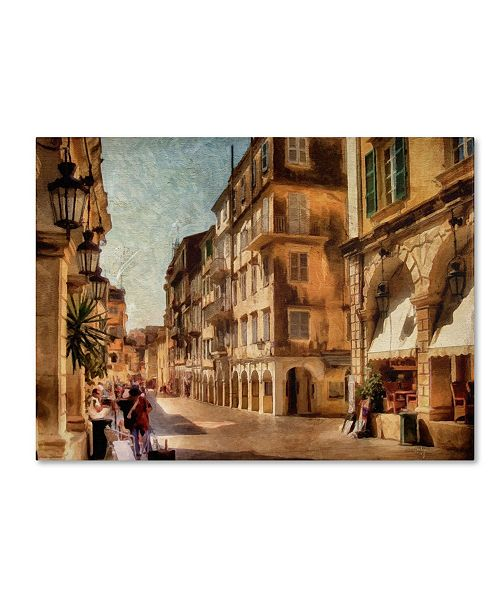 """Trademark Global Lois Bryan 'Old Corfu Town-Waiting for the Tourists' Canvas Art - 35"""" x 47"""""""