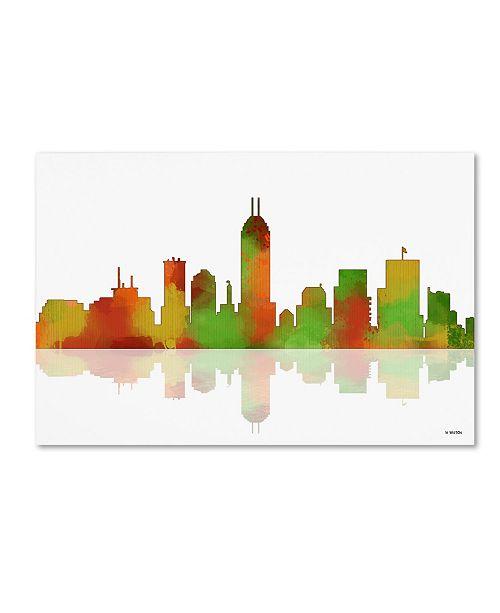 """Trademark Global Marlene Watson 'Indianapolis Indiana Skyline II' Canvas Art - 22"""" x 32"""""""