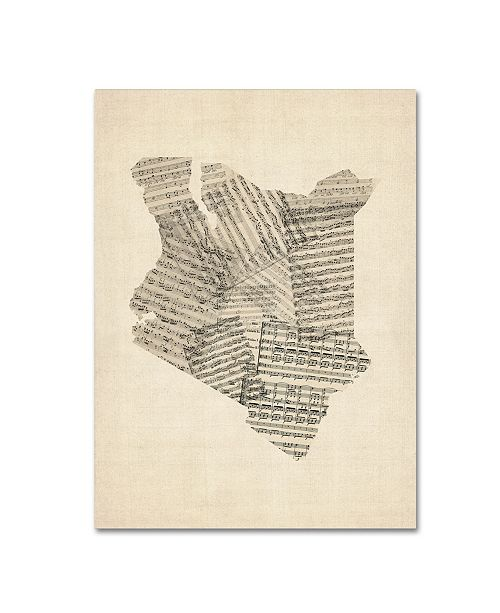"Trademark Global Michael Tompsett 'Old Sheet Music Map of Kenya' Canvas Art - 35"" x 47"""