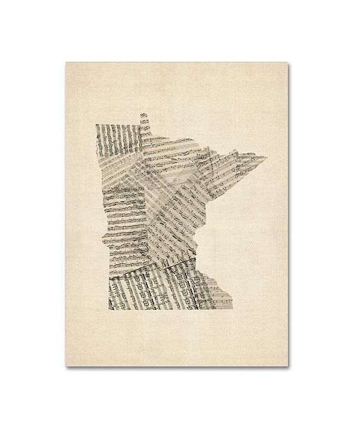 "Trademark Global Michael Tompsett 'Old Sheet Music Map of Minnesota' Canvas Art - 35"" x 47"""