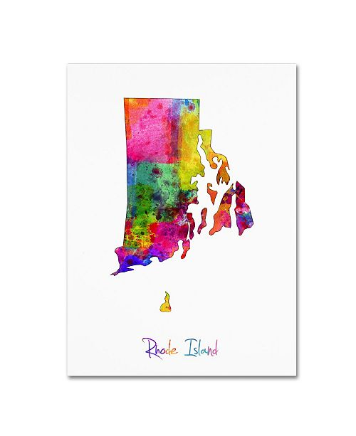 "Trademark Global Michael Tompsett 'Rhode Island Map' Canvas Art - 24"" x 32"""
