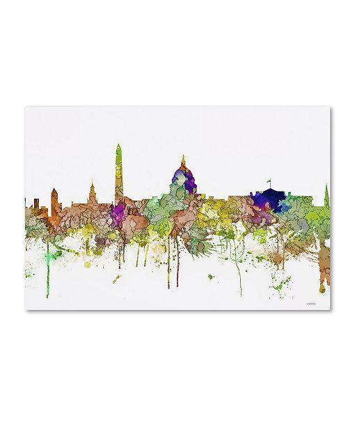 """Trademark Global Marlene Watson 'Washington DC Skyline SG Faded Glory' Canvas Art - 12"""" x 19"""""""