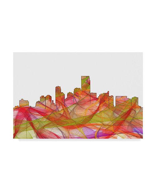 "Trademark Global Marlene Watson 'Jersey City New Jersey Skyline' Canvas Art - 12"" x 19"""