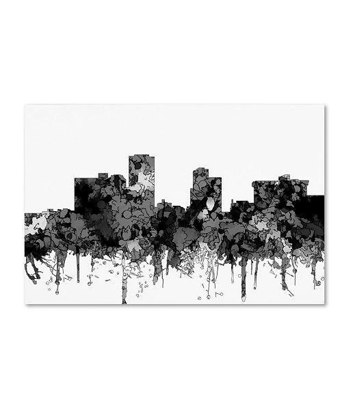 "Trademark Global Marlene Watson 'Little Rock Arkansas Skyline BW' Canvas Art - 12"" x 19"""