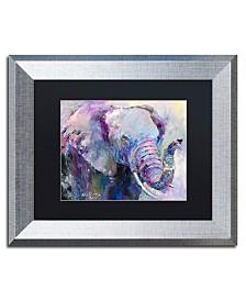 """Richard Wallich 'Blue Elephant' Matted Framed Art - 11"""" x 14"""""""