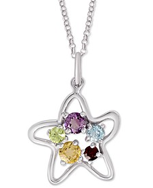 "Multi-Gemstone Starfish 18"" Pendant Necklace (1/3 ct. t.w.) in Sterling Silver"