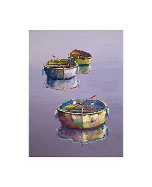 "Trademark Global Edward Park 'Boats Purple' Canvas Art - 14"" x 19"""