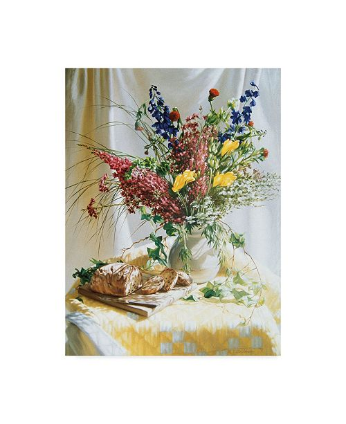 """Trademark Global Robin Anderson 'Wild Flowers And Yellow Quilt' Canvas Art - 14"""" x 19"""""""