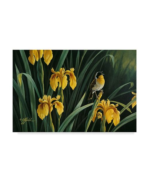 "Trademark Global Wilhelm Goebel 'Yellow Flags And Yellowthroat' Canvas Art - 12"" x 19"""