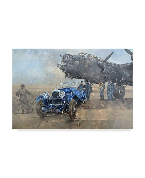 """Trademark Global Peter Miller 'Able Mable and the Blue Lagonda' Canvas Art - 12"""" x 19"""""""