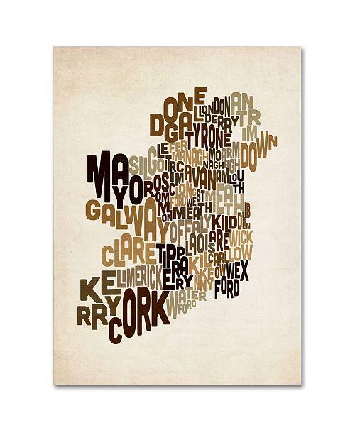 "Trademark Global Michael Tompsett 'Ireland Text Map 2' Canvas Art - 14"" x 19"""