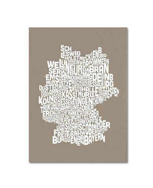 "Trademark Global Michael Tompsett 'TAUPE-Germany Regions Map' Canvas Art - 14"" x 19"""