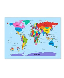 "Michael Tompsett 'Childrens World Map' Canvas Art - 14"" x 19"""