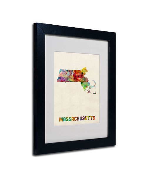 "Trademark Global Michael Tompsett 'Massachusetts Map' Matted Framed Art - 14"" x 11"""