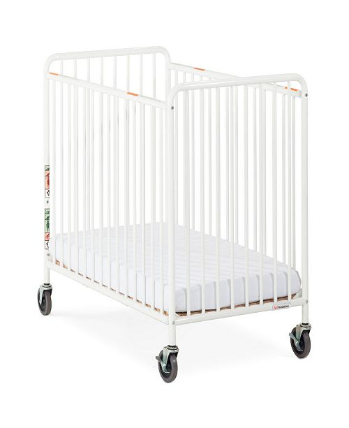 "Child Craft Chelsea Compact Steel EasyRoll Non-Folding Crib, Slatted Ends, 4"" Casters"