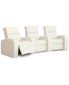 Perison 3-Pc. Leather Theater Sectional Sofa with Wedge
