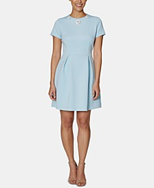 Embellished-Collar A-Line Dress