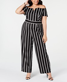 Teeze Me Trendy Plus Size Striped Off-The-Shoulder Jumpsuit