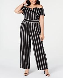 Teeze Me Trendy Plus Size Striped Off-The-Shoulder Jumpsuit