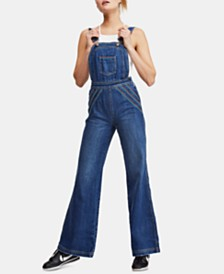 Free People Chasing Rainbows Denim Overalls