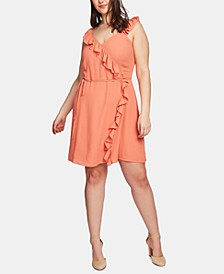 Plus Size Ruffled Wrap-Front Dress
