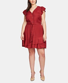 1.STATE Plus Size Button-Front Asymmetrical Dress