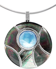 "Multi-Gemstone Round 21"" Pendant Necklace in Sterling Silver"