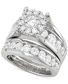 Diamond Halo Channel-Set Bridal Set (4 ct. t.w.) in 14k White Gold