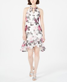 Calvin Klein Printed Chiffon Halter Dress