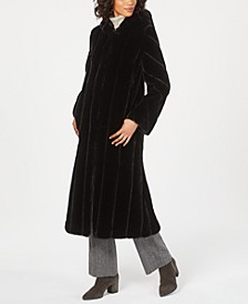 Petite Hooded Faux-Fur Maxi Coat