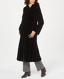 Jones New York Petite Hooded Faux-Fur Maxi Coat