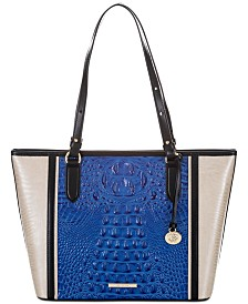 Brahmin Medium Asher Cobalt Laverne Leather Tote