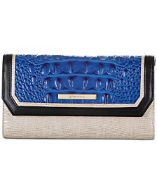 Brahmin Soft Checkbook Cobalt Laverne Leather Wallet