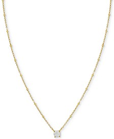 "Moonstone Solitaire 18"" Pendant Necklace in Gold-Plated Sterling Silver (Also in Synthetic Turquoise)"