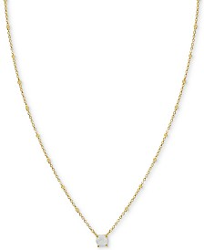 "Argento Vivo Moonstone Solitaire 18"" Pendant Necklace in Gold-Plated Sterling Silver (Also in Synthetic Turquoise)"