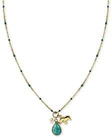 "Stone & Elephant Charm 18"" Pendant Necklace in Gold-Plated Sterling Silver"