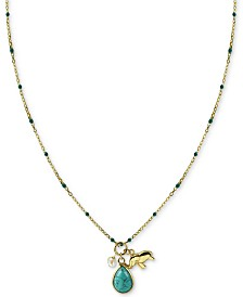 "Argento Vivo Stone & Elephant Charm 18"" Pendant Necklace in Gold-Plated Sterling Silver"