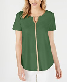 JM Collection Petite Metallic-Trim Tunic, Created for Macy's