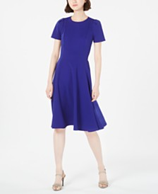 Calvin Klein Crewneck Fit & Flare Dress