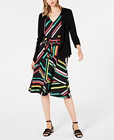 Open Jacket, Sleeveless V-Neck Blouse & Printed Skirt, Created for Macy's