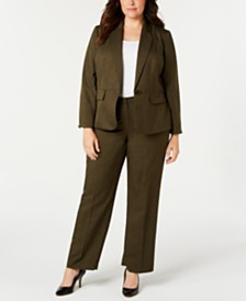 Le Suit Plus Size One-Button Pant Suit