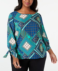Nine West  Plus Size Tie-Sleeve Top