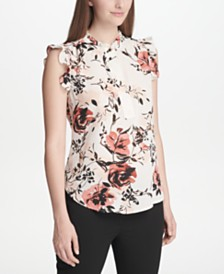 DKNY Floral-Print Ruffled Blouse