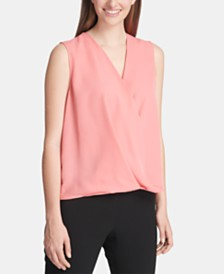 DKNY Sleeveless Surplice Top