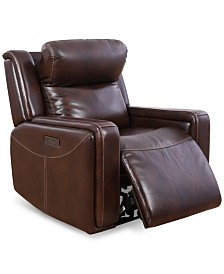 "Saran 37"" Leather Power Recliner"